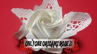 達人折りのバラの折り紙21 Only one origami rose21