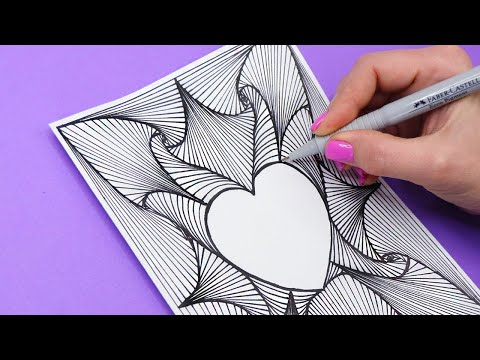 Рисуем Сердечко и берем линейку👍Как нарисовать АНТИСТРЕСС рисунок