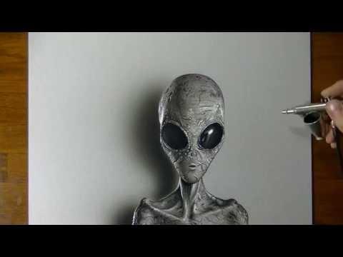 Drawing (Visual Art) Time Lapse: Grey Alien
