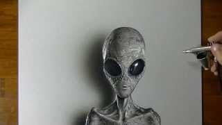 Drawing (Visual Art) Time Lapse: Grey Alien