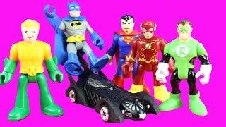 Imaginext Batman Superman The Flash Justice League Send Remote Control Batmobile To Bad Guy Party