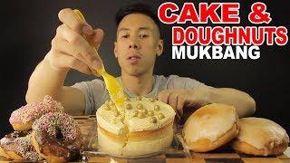 [MUKBANG] WHITE CHOCOLATE CAKE WITH GOLD BALLS AND DOUGHNUTS(BANANA CUSTARD)