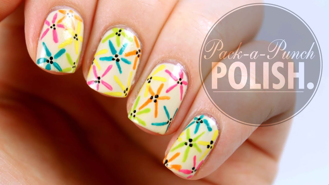 Easy Spring Flower Nail Art Tutorial Packapunchpolish Youtube