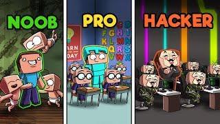 Minecraft - FAMILY DAYCARE CHALLENGE! (NOOB vs PRO vs HACKER)