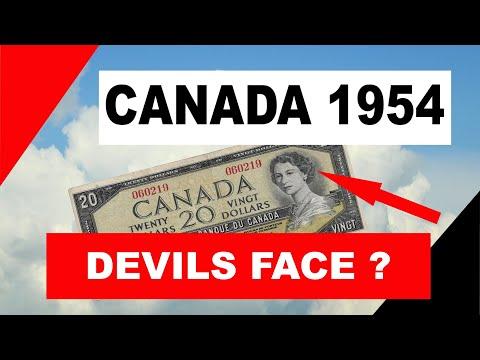 1954 Canada Twenty Dollar Bill -  1954 Devils Face ?