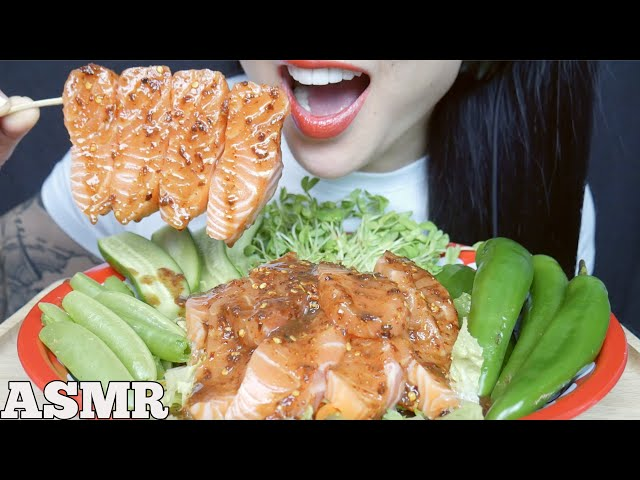 ASMR SPICY SALMON SASHIMI FRESH VEGGIE SALAD (CRUNCHY EATING SOUNDS) NO TALKING | SAS-ASMR