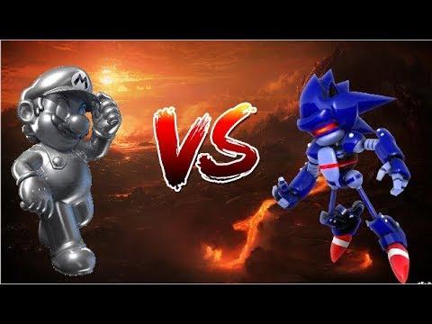 Mecha Sonic vs Metal Mario Sprite animation