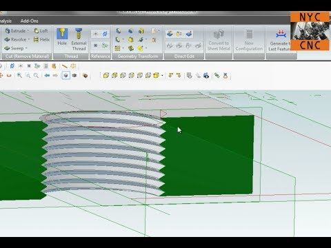 Alibre CAD (Geomagic): How to Make Cosmetic Threads using Helical Cut Tool!