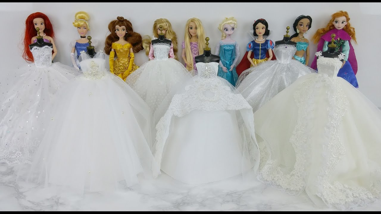 Disney Princess Belle Snow White Ariel Elsa Jasmine Cinderella Barbie Wedding Dresses