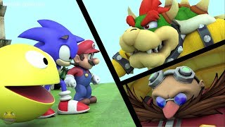 Pacman Mario and Sonic vs Bowser and Eggman
