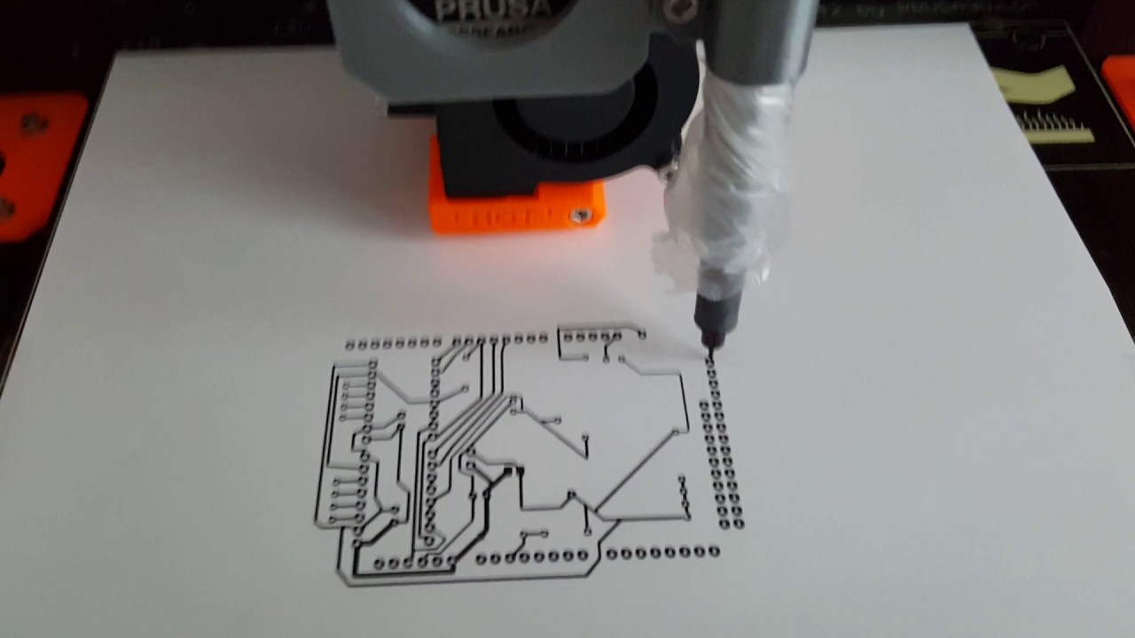 3d printer Pcb plotting on Prusa i3 Mk2 - YouTube