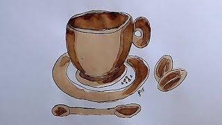 How To ☕🎨coffee Paint 🎨☕ - A Cute Coffee Mug Painting