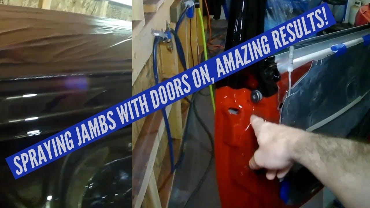 Spraying Door Jambs with doors on - Custom PT Cruiser