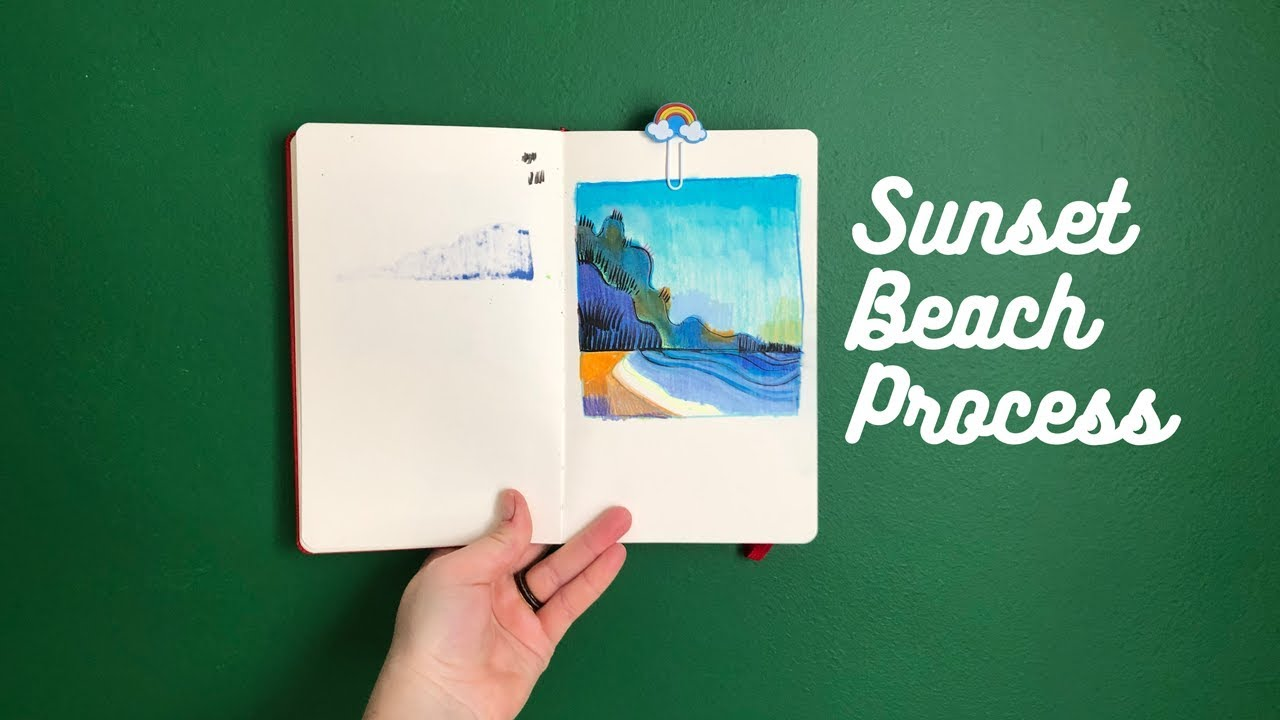Sunset Beach Sketchbook Process ~ Allison Ranieri