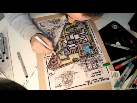 Landscape Architecture - Designing and Coloring Landscape Project - Time Lapse Sketch Drawing