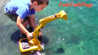 One of JackJackPlays's most viewed videos: Construction Trucks for Kids: Beach Playtime: Toy Bruder Excavator Dump Truck Tonka Bulldozer Grader