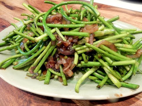 S2Ep51-Stir Fry Garlic Stems/Scapes with Shallots  小蔥炒蒜莖