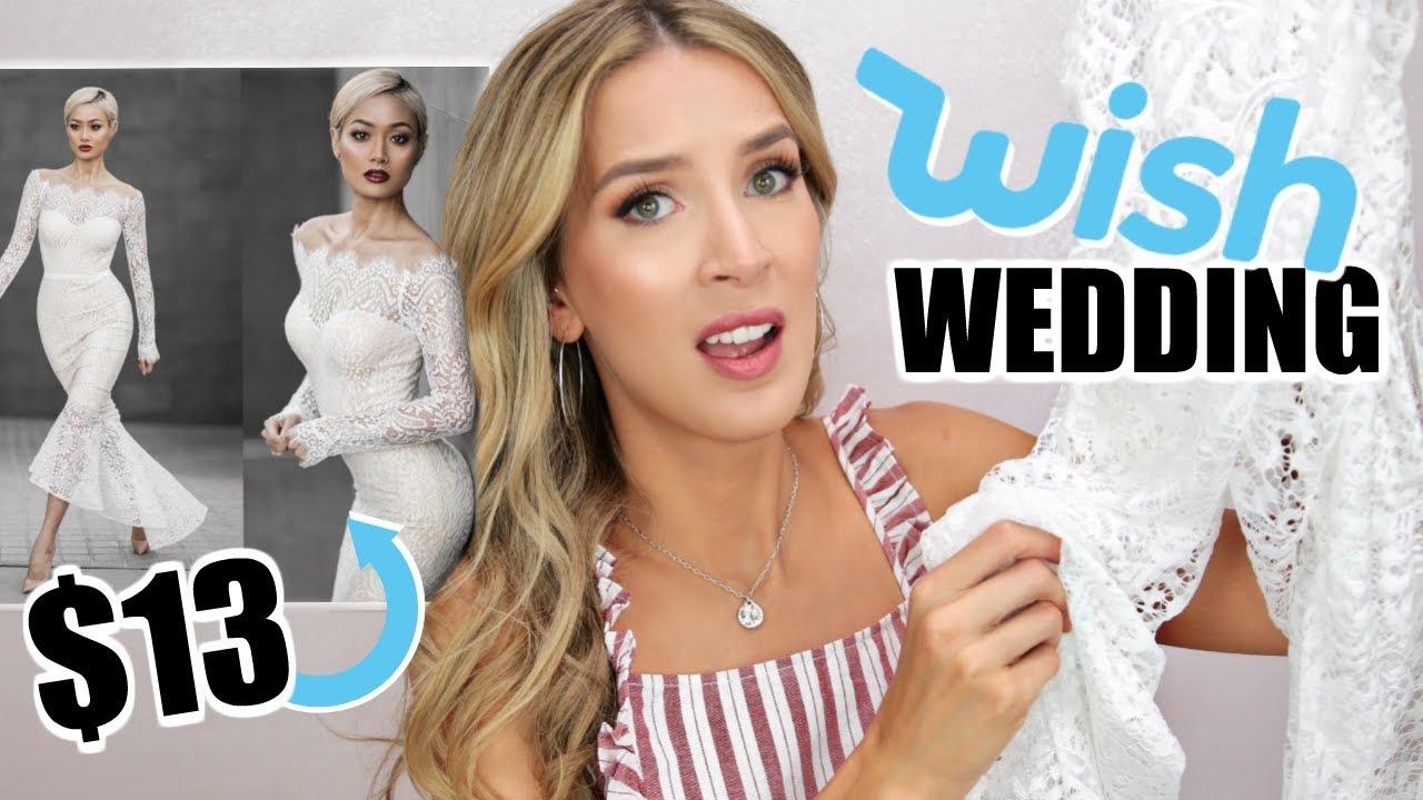 c3ea914223 TRYING ON 5 WISH WEDDING DRESSES UNDER  20 - YouTube