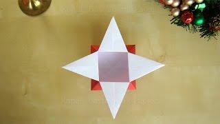 Origami Sterne Schachtel falten - Geschenkverpackung basteln mit Papier - DIY Weihnachten