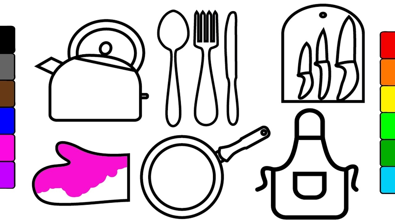 Kitchen utensils drawing for kids - How To Draw And Color Kitchen Tools Learn Colors For Kids Fun Coloring Videos Kidstv Jacky