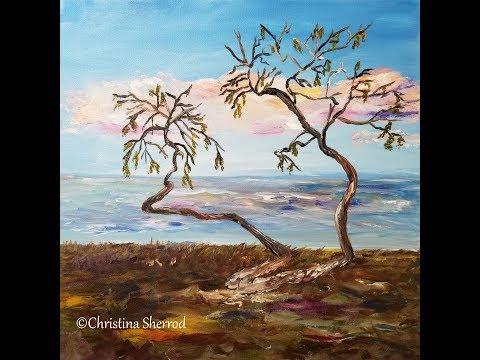 Seaside Tree Palette Knife Acrylic Painting Tutorial
