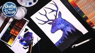 Уроки рисования: Звездное небо акварелью в силуете