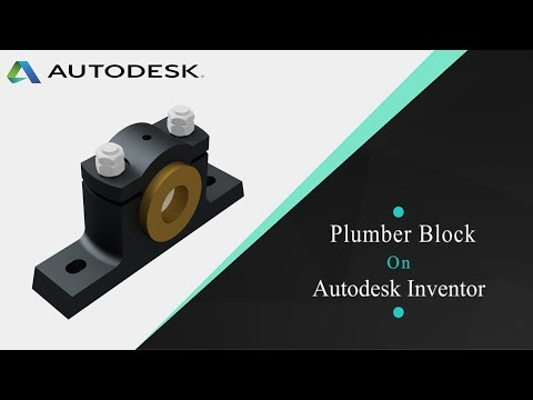 Plumber block - parts, assembly, 2D drafting in Autodesk inventor 2018