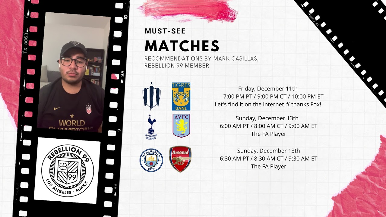 Must-See Matches I December 11-13, 2020