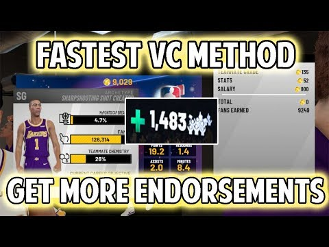 NBA 2K19 QUICKEST WORKING VC METHOD! HOW TO GET BETTER ENDORSEMENTS!