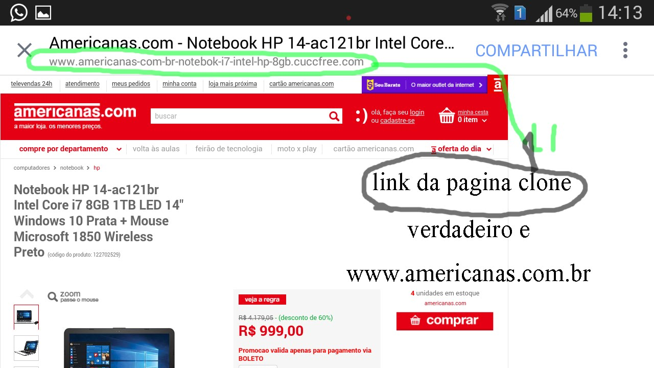 277762456 GOLPE Site falso da AMERICANAS.COM - YouTube