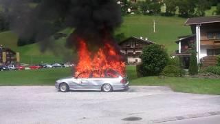 Feuerwehr Ramsau im Zillertal Tirol Brennendes Auto Fire Firetruck Burning Car Firefighter Tirol