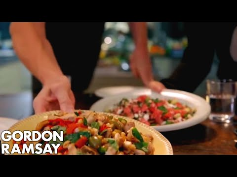 Griddled Chicken with Chickpeas, Feta & Watermelon Salad | Gordon Ramsay