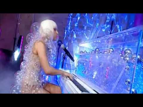 Lady GaGa Performing Paparazzi Live with Bubble Outfit