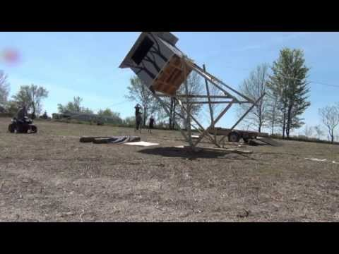 8x8 1000 Lb 14 Ft Tower Deer Stand Raising Youtube