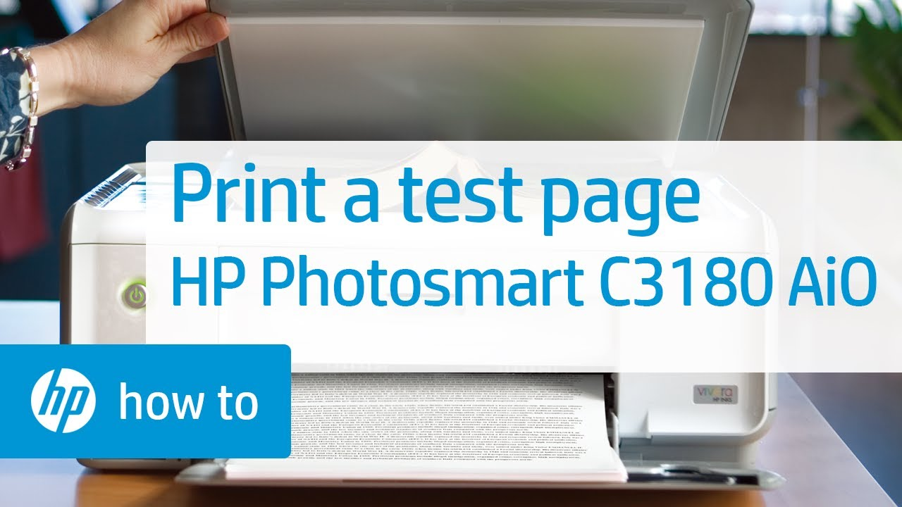 Printing a Test Page - HP Photosmart C3180 All-in-One Printer - YouTube