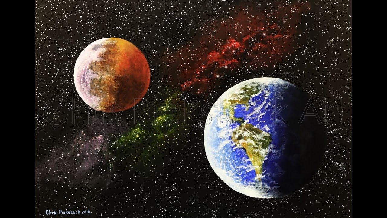 Acrylic space painting time lapse chris pickstock art youtube - Painting small spaces image ...