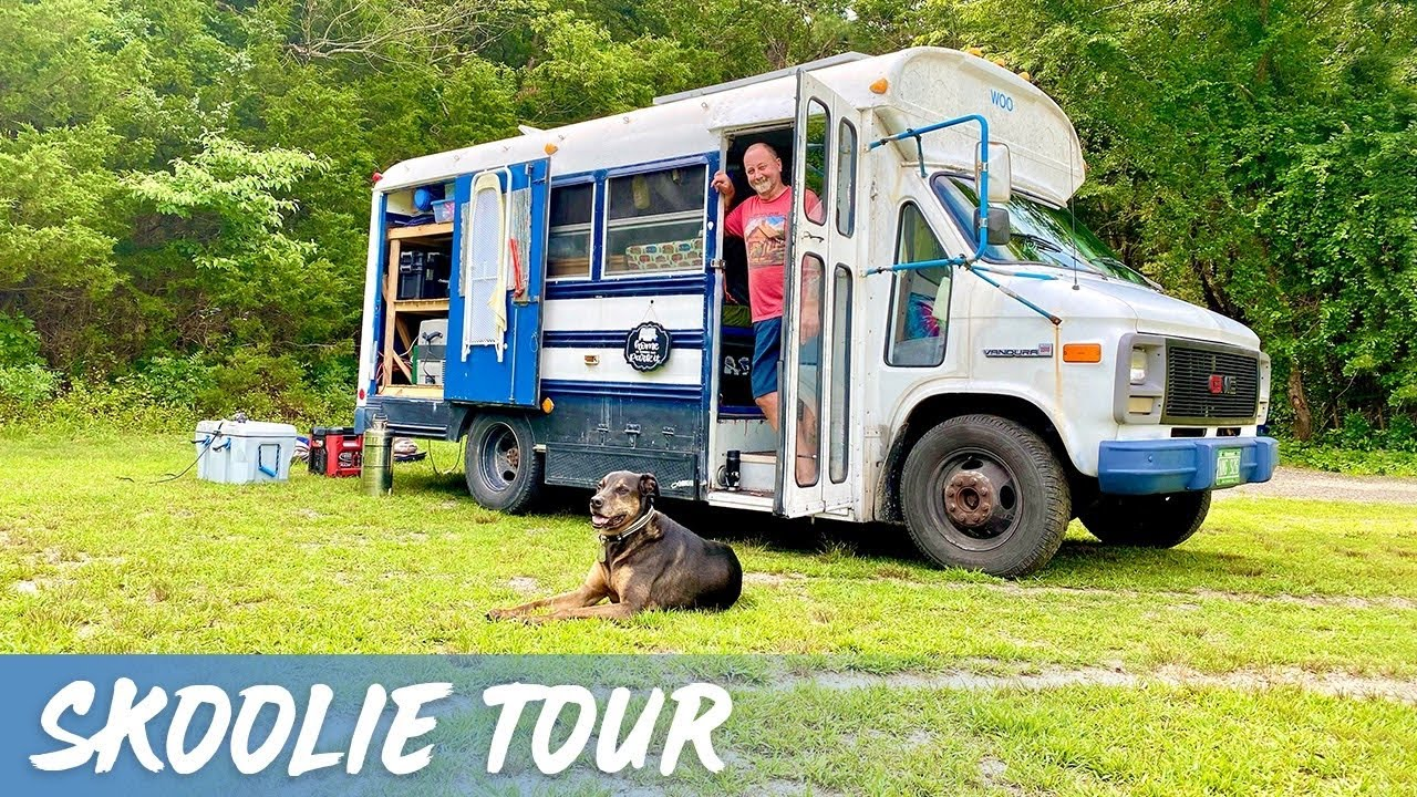 SKOOLIE TOUR | Budget Friendly Full Time Living in a Converted Short School Bus Camper RV Conversion
