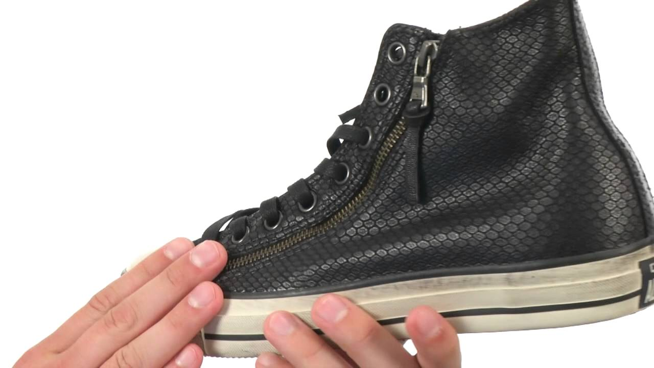 4bf73aa6d286 Converse by John Varvatos Chuck Taylor All Star Leather Double Zip Black  Snake SKU 8472905 - YouTube