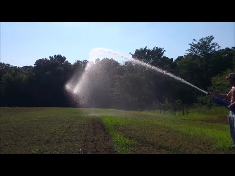 Watering food plot with high vol water pump from watering hole