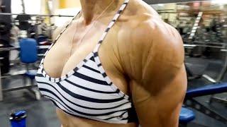 She's Shredded And 50 Years Old! Shoulder Workout With IFBB Pro Karin Hobbs.