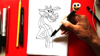 How to draw Mushu from Mulan step by step