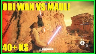 Star Wars Battlefront 2 - OBI WAN KENOBI vs DARTH MAUL! 40+ OBI KILLSTREAK! (Geonosis)