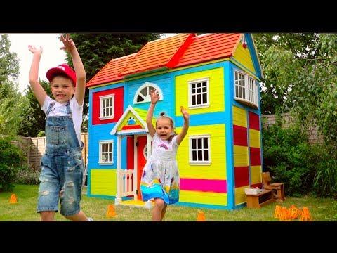 Смотреть DIY 2 этажный ДОМ 4 комнатный для детей и РУМ ТУР или Pretend Play in DIY Playhouse for children онлайн
