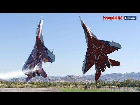 FANTASTIC Russian Mikoyan Gurevich MiG-29 FORMATION PAIR/DUO With OVT VECTORED THRUST Demo