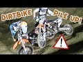 KIDS PILE UP ON DIRT BIKES