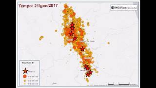 Animazione spazio temporale sequenza sismica in italia centrale