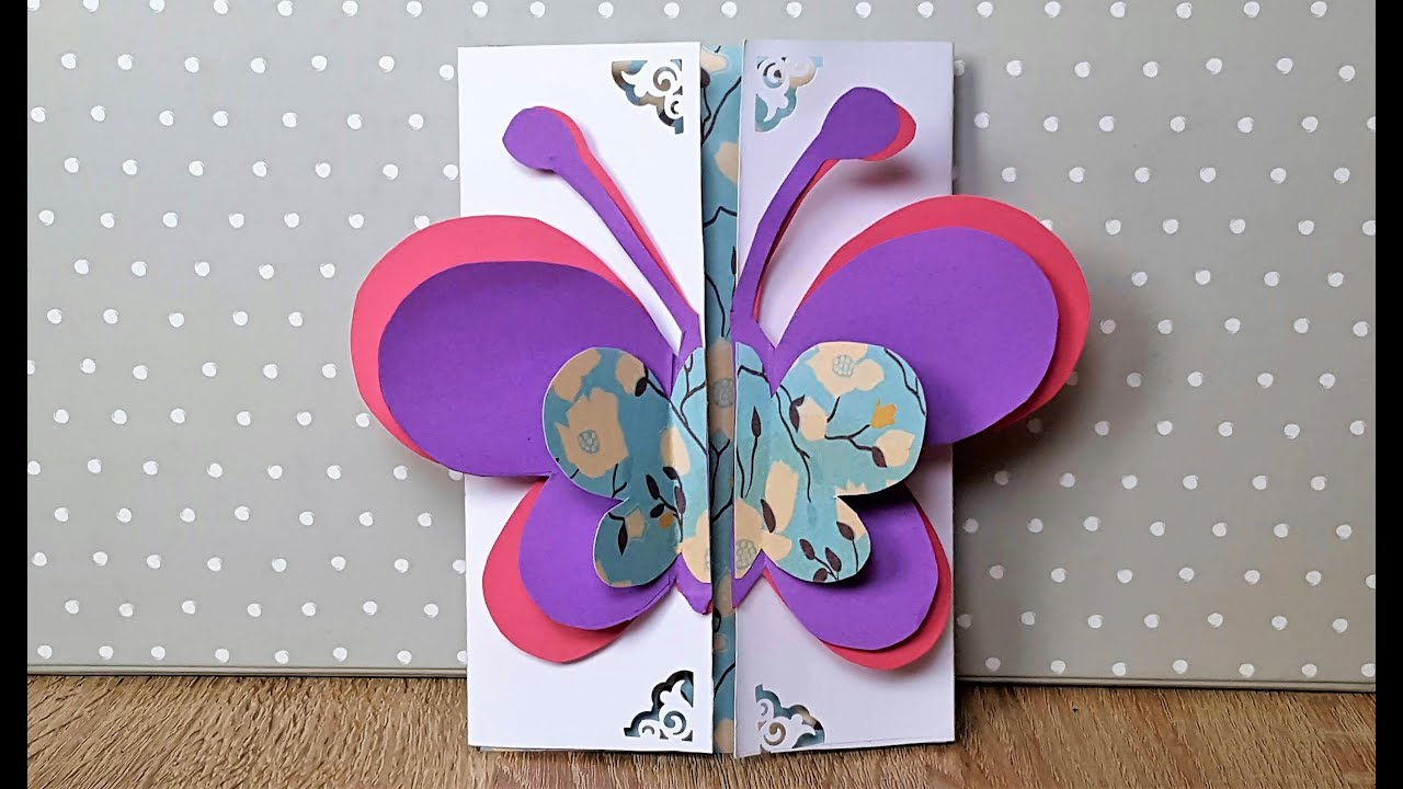 geburtstagskarte mit schmetterling basteln how to make a birthday card with a butterfly on top. Black Bedroom Furniture Sets. Home Design Ideas