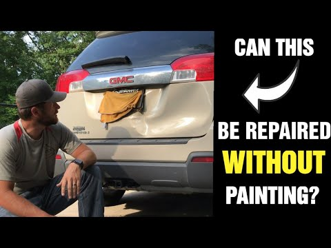 Mobile Paintless Dent Repair, Griffin Ga-Dent Repair on a Smashed GMC Terrain Liftgate