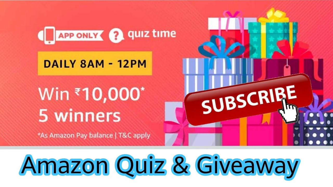 Amazon Quiz Answer To Win ₹10,000 | 5 Winners | 20 December , Amazon Quiz  and Giveaway