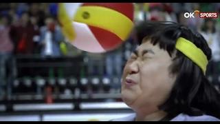 Libero defiende con la cara - volleyball - japon